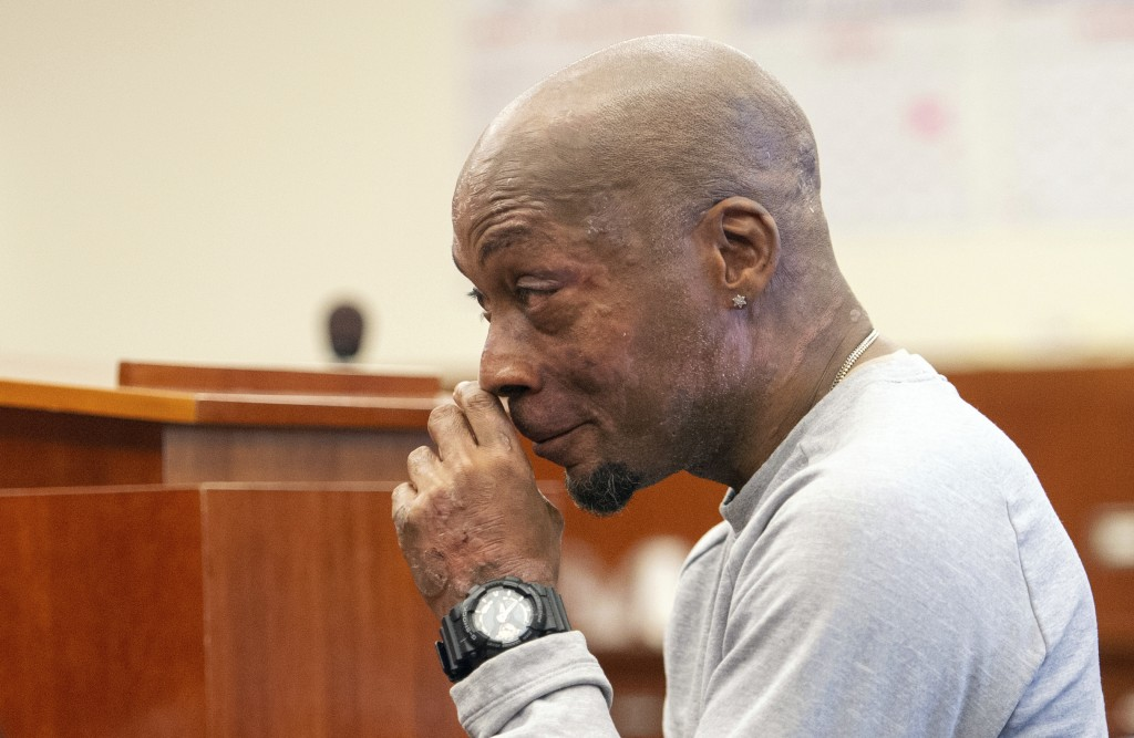 Plaintiff Dewayne Johnson reacts after hearing the verdict in his case against Monsanto at the Superior Court of California in San Francisco on Friday