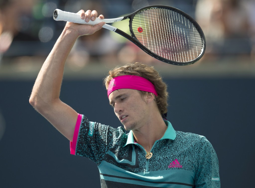 Alexander Zverev, of Germany, reacts during his loss to Stefanos Tsitsipas, of Greece, in Rogers Cup quarterfinal tennis tournament action in Toronto,