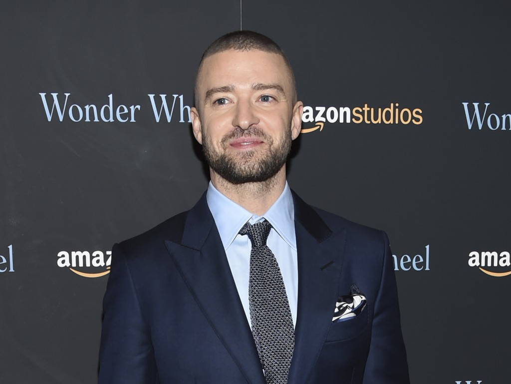 "FILE - In this Nov. 14, 2017 file photo, singer-actor Justin Timberlake attends a special screening of his film, ""Wonder Wheel"", in New York. Harper D"
