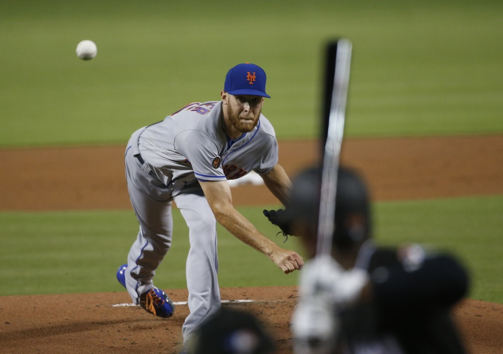 New York Mets' Zack Wheeler delivers a pitch during the first inning of a baseball game against the Miami Marlins, Friday, Aug. 10, 2018, in Miami. (A...