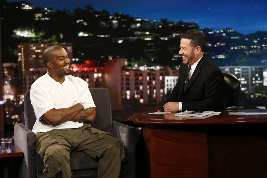 "In this image released by ABC, musician Kanye west, left, and host Jimmy Kimmel appear on the set of  ""Jimmy Kimmel Live!"" in Los Angeles. West appear"