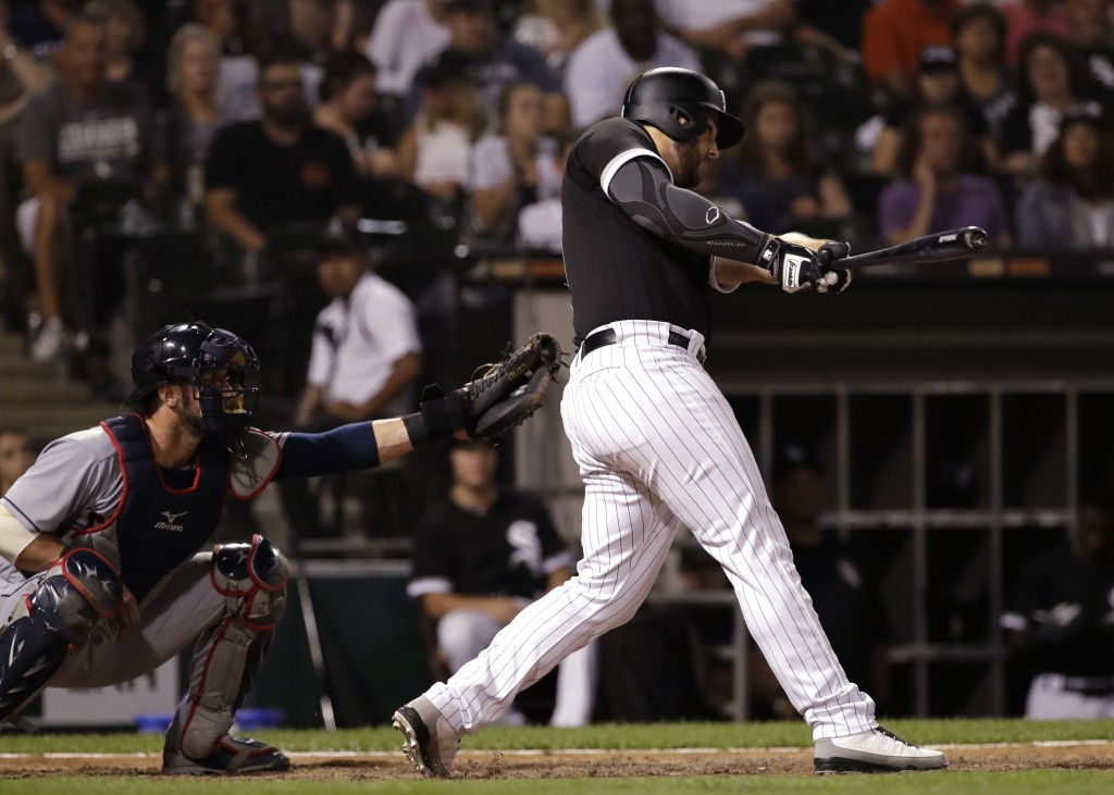 Chicago White Sox's Daniel Palka hits a home run against the Cleveland Indians during the ninth inning of a baseball game Friday, Aug. 10, 2018, in Ch