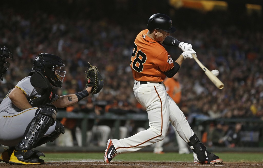 San Francisco Giants' Buster Posey hits a two-run single off Pittsburgh Pirates starting pitcher Clay Holmes during the third inning of a baseball gam
