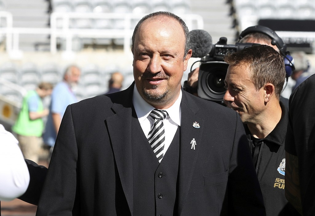 Newcastle manager Rafael Benitez before the English Premier League soccer match against Tottenham, at St James' Park in Newcastle, England, Saturday A