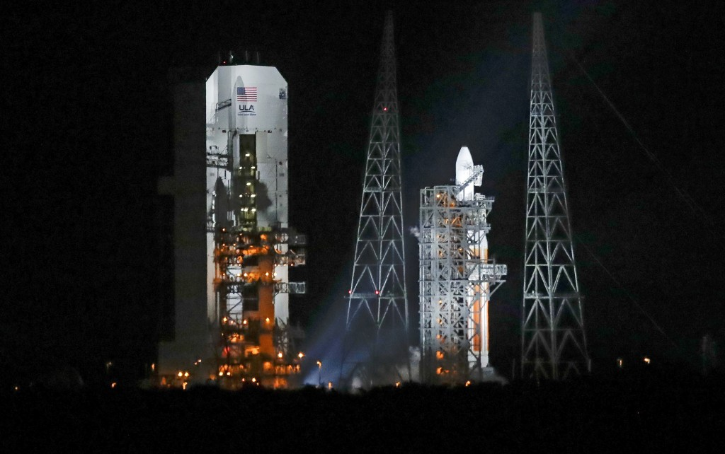 A Delta IV rocket, carrying the Parker Solar Probe, stands on launch complex 37 after the launch was scrubbed at the Kennedy Space Center, Saturday, A