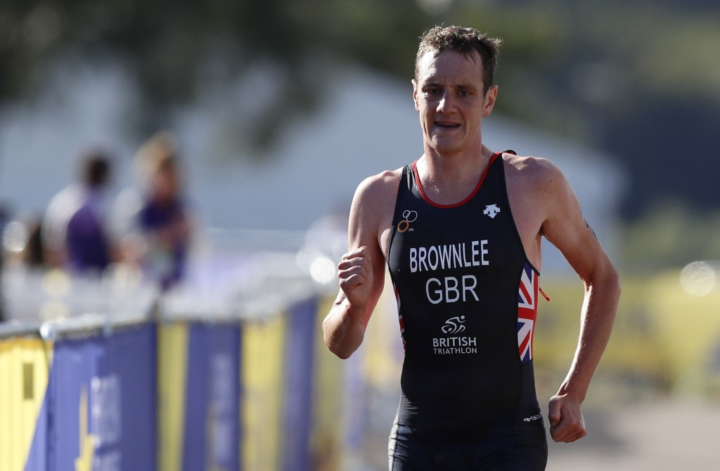 Alistair Brownlee of Great Britain participates in the running discipline of the men's triathlon finals at Strathclyde Country Park during the Europea...