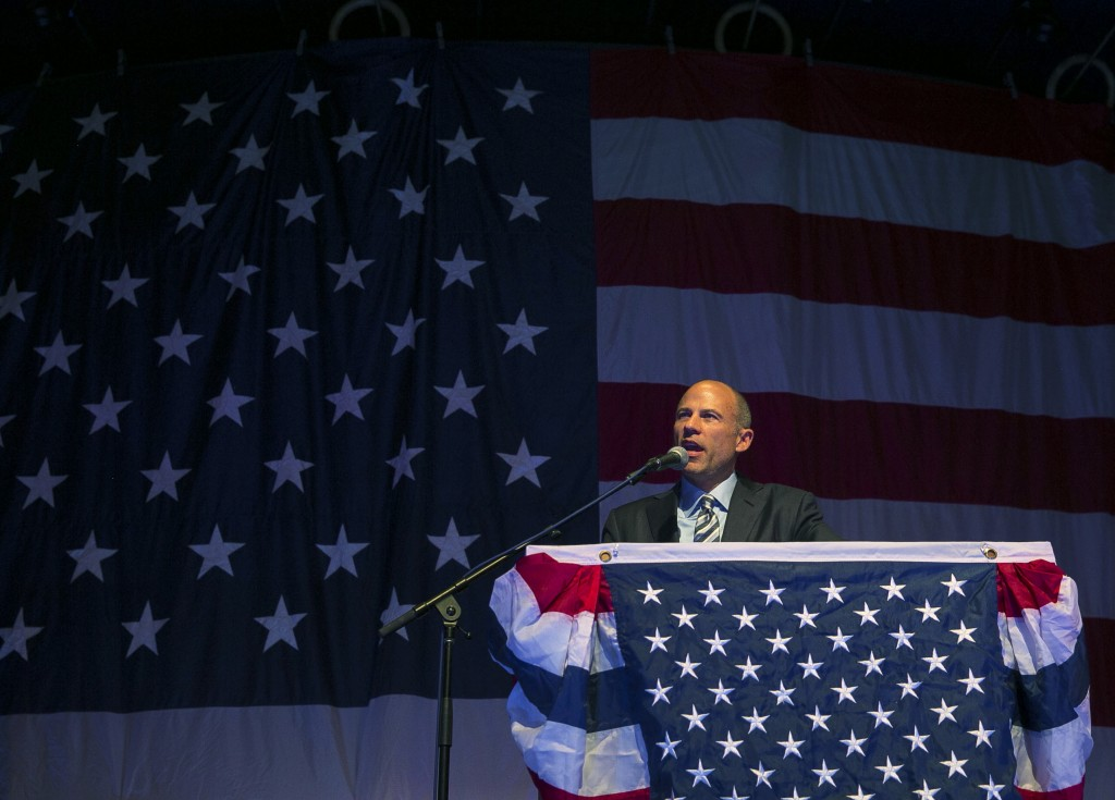 Michael Avenatti speaks at the Iowa Democratic Wing Ding at the Surf Ballroom in Clear Lake, Iowa, Friday, Aug. 10, 2018. Avenatti, the self-styled pr