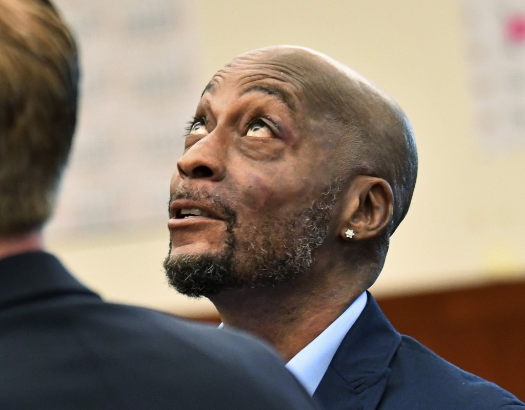 FILE - In this July, 9, 2018, file photo, plaintiff DeWayne Johnson looks up during a brief break as the Monsanto trial in San Francisco. Monsanto is