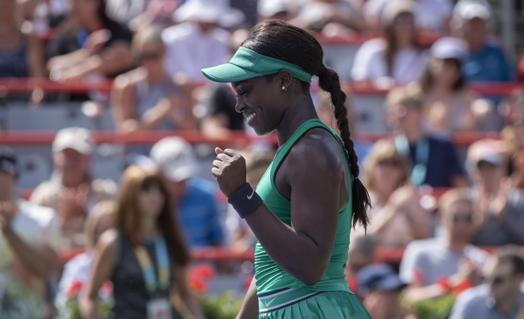 Sloane Stephens of the United States celebrates her victory over Anastasija Sevastova of Latvia during quarterfinals play at the Rogers Cup tennis tou