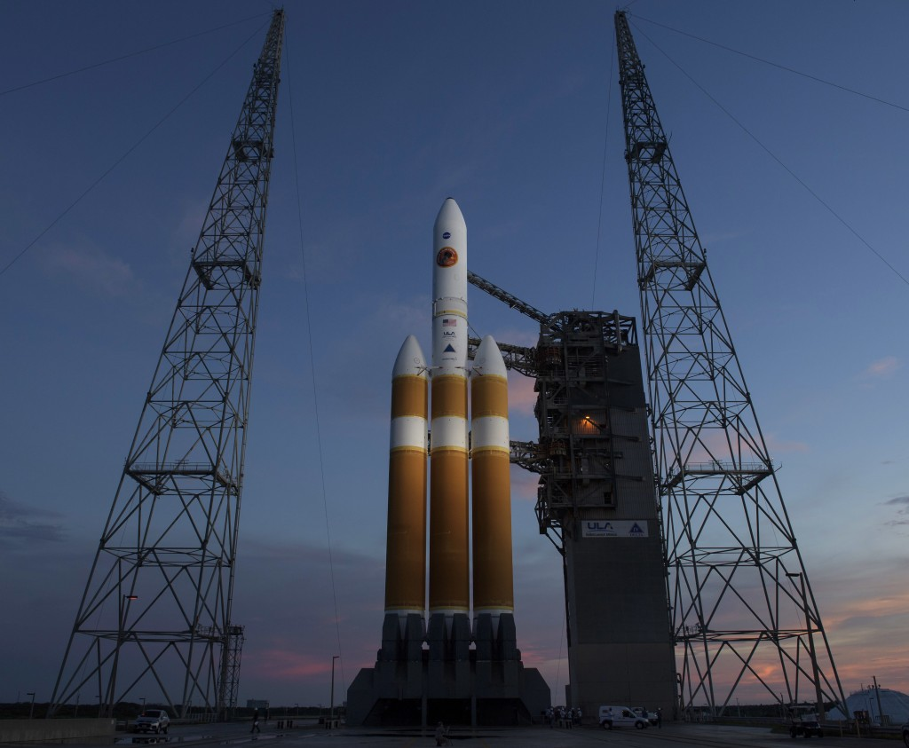 This photo provided by NASA shows the United Launch Alliance Delta IV Heavy rocket with the Parker Solar Probe onboard shortly after the Mobile Servic