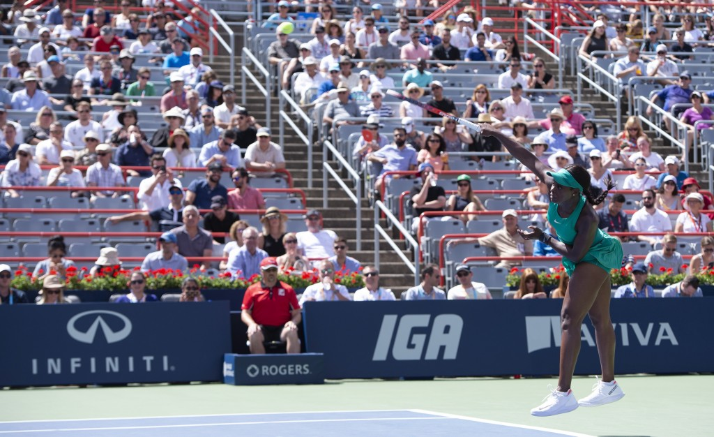Sloane Stephens of the United States serves to Anastasija Sevastova of Latvia during quarterfinals play at the Rogers Cup tennis tournament Friday, Au