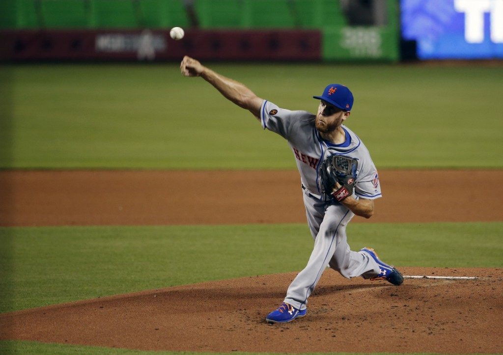 New York Mets' Zack Wheeler delivers a pitch during the first inning of a baseball game against the Miami Marlins, Friday, Aug. 10, 2018, in Miami. (A