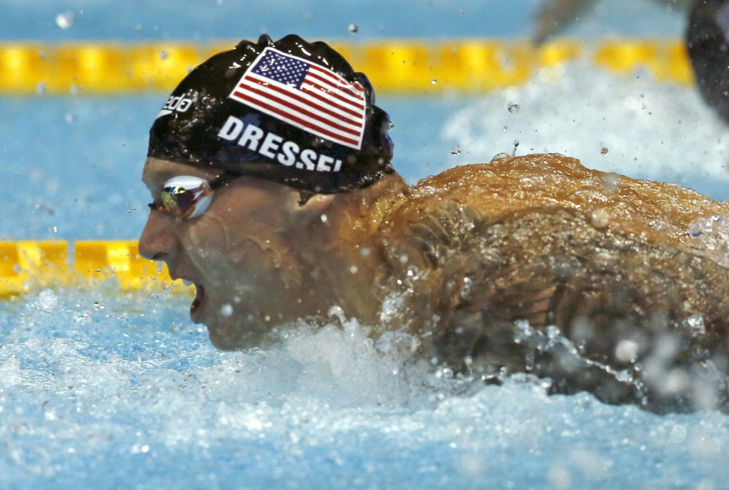U.S. swimmer Caeleb Dressel competes on his way to winning the men's 100m butterfly final during the Pan Pacific swimming championships in Tokyo, Satu