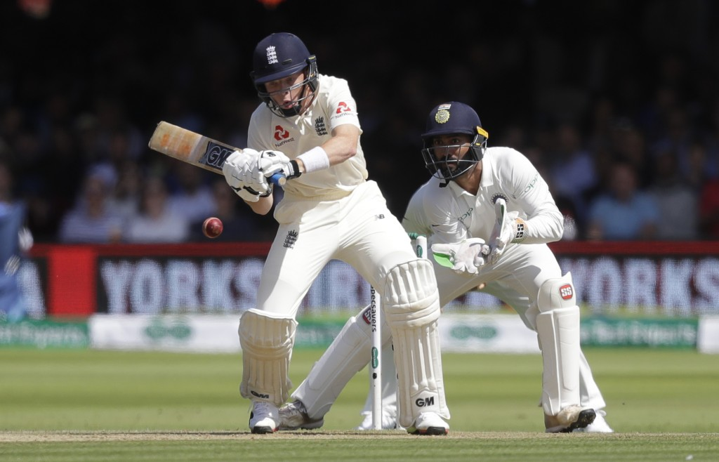England's Ollie Pope plays a shot off the bowling of India's Kuldeep Yadav during the third day of the second test match between England and India at