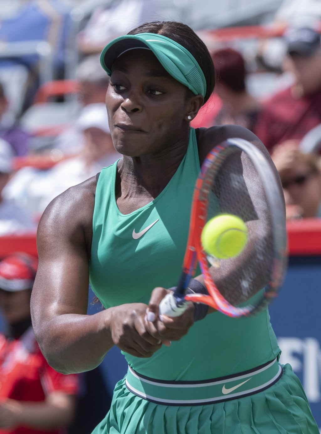 Sloane Stephens of the United States returns to Anastasija Sevastova of Latvia during quarterfinals play at the Rogers Cup tennis tournament Friday, A