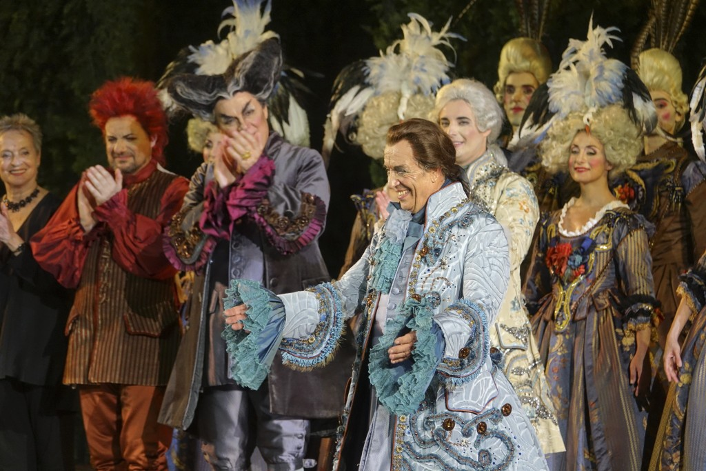 Italian baritone Leo Nucci bows after singing the title role in Rossini's ''Barbiere di Siviglia'' at the Verona Arena, in Verona, Northern Italy, Sat