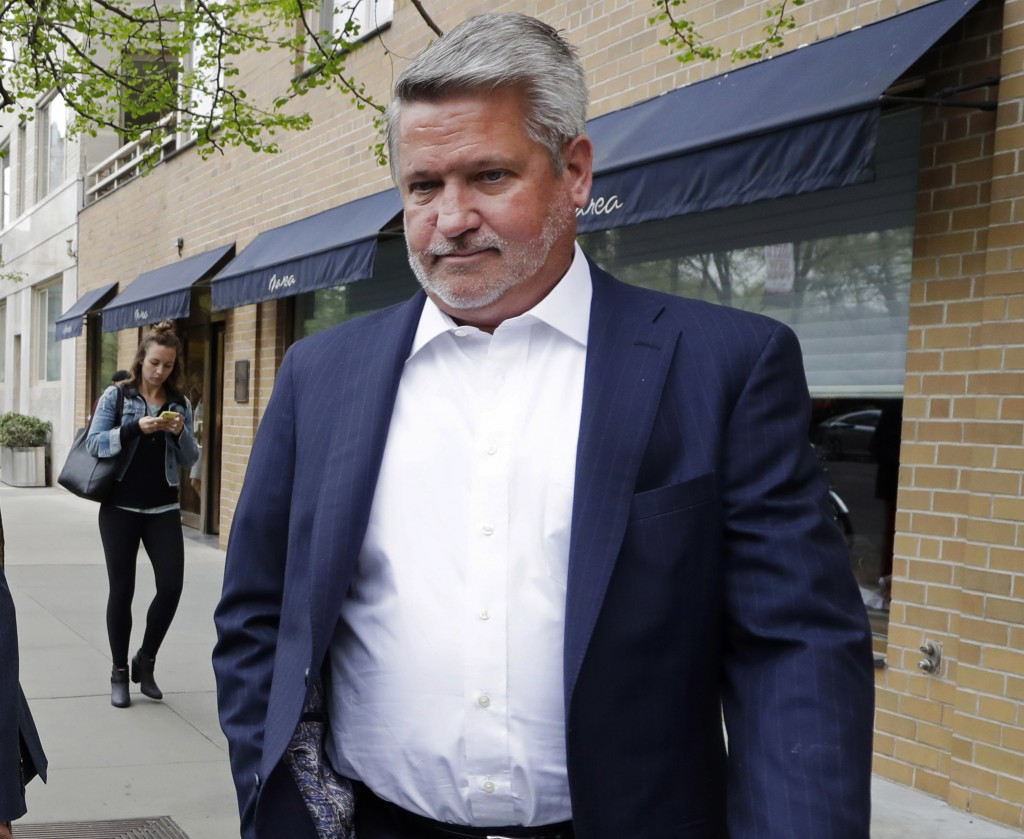 FILE - In this April 24, 2017, file photo, then-Fox News co-president Bill Shine, leaves a New York restaurant. For years Shine carried out Roger Aile...