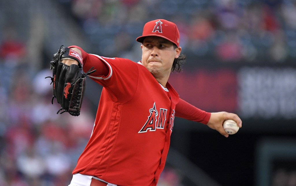 Los Angeles Angels starting pitcher Tyler Skaggs throws to the plate during the second inning of a baseball game against the Oakland Athletics, Saturd