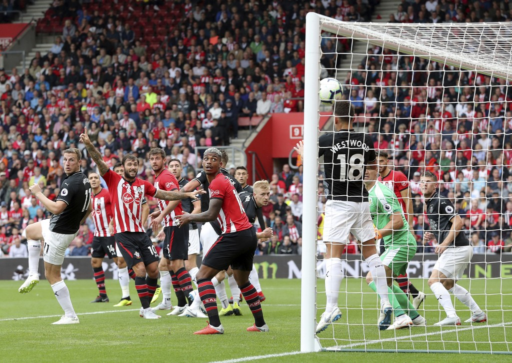 Burnley's Ashley Westwood clears off the goal line during the Premier League soccer match between Southampton and Burnleyat St Mary's, Southampton, En