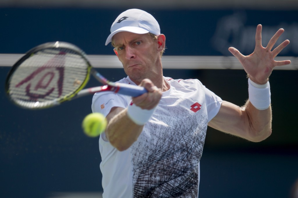 Kevin Anderson of South Africa hits a forehand to Stefanos Tsitsipas of Greece during Rogers Cup semifinal tennis tournament action in Toronto on Satu