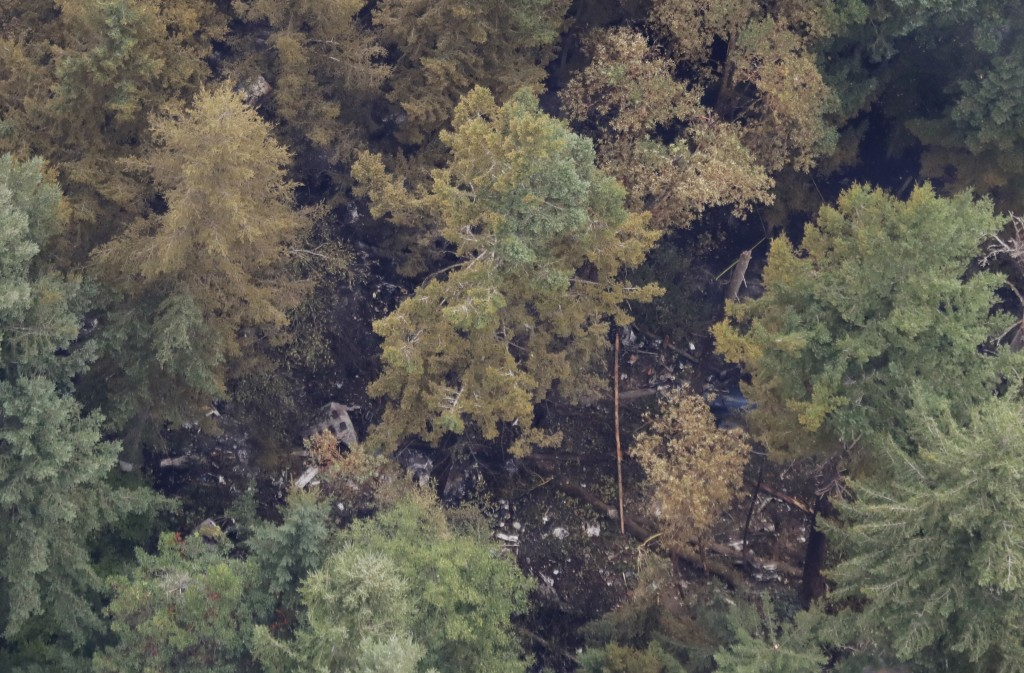 The site on Ketron Island in Washington state where an empty Horizon Air turboprop plane crashed Friday after it was stolen from Sea-Tac International...