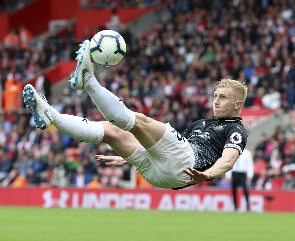 Burnley's Ben Mee attempts an overhead kick during the Premier League soccer match between Southampton and Burnely at St Mary's, Southampton, England.
