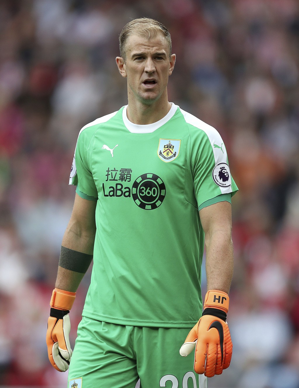 Burnley goalkeeper Joe Hart during the Premier League soccer match between Southampton and Burnley at St Mary's, Southampton, England. Sunday Aug. 12,