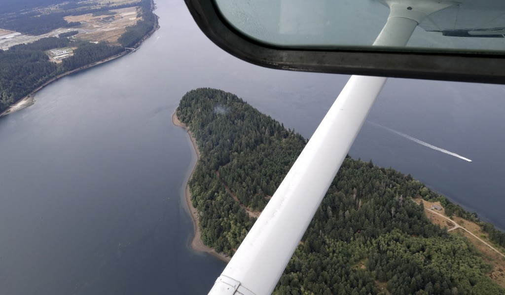 Smoke rises from the site on Ketron Island in Washington state where an Horizon Air turboprop plane crashed Friday after it was stolen from Sea-Tac In...