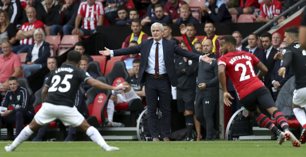 Southampton manager Mark Hughes on the touchline during the Premier League soccer match between Southampton and Burnley at St Mary's, Southampton, Eng