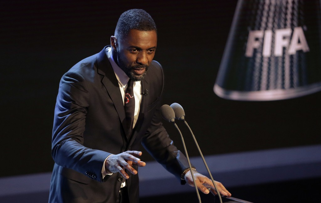 FILE - In this file photo dated Monday, Oct. 23, 2017,  Actor Idris Elba speaks during The Best FIFA 2017 Awards in London. British actor Idris Elba h