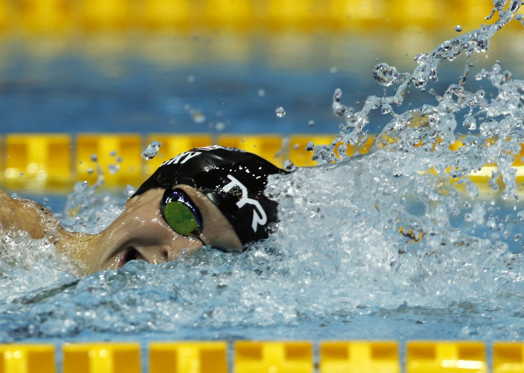 Katie Ledecky of the U.S., swims in the women's 1500m freestyle timed final during the Pan Pacific swimming championships in Tokyo, Sunday, Aug.12, 20