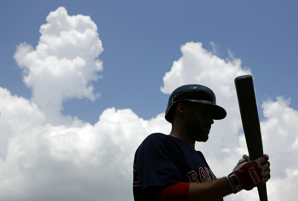 Boston Red Sox's J.D. Martinez prepares for an at-bat in the second inning of the first baseball game of a doubleheader against the Baltimore Orioles,