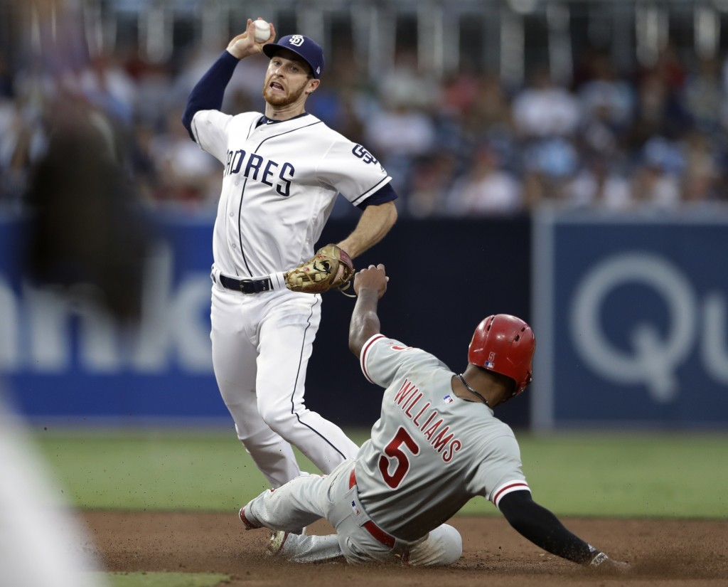San Diego Padres third baseman Cory Spangenberg throws to first too late for the double play as Philadelphia Phillies' Nick Williams (5) slides in aft