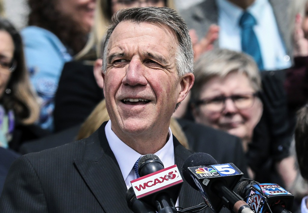FILE - In this April 11, 2018, file photo, Vermont Gov. Phil Scott speaks before signing a gun restrictions bill on the steps of the Statehouse in Mon