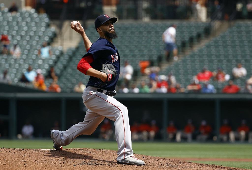 Boston Red Sox starting pitcher David Price throws to the Baltimore Orioles in the first inning of the first baseball game of a doubleheader, Saturday