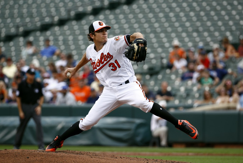 Baltimore Orioles starting pitcher Jimmy Yacabonis throws to the Boston Red Sox in the second inning of the first baseball game of a doubleheader, Sat