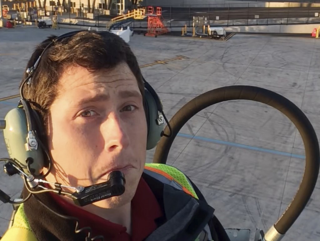 This undated image posted to Richard Russell's YouTube channel shows Russell, an airline ground agent. Investigators are piecing together how Russell ...