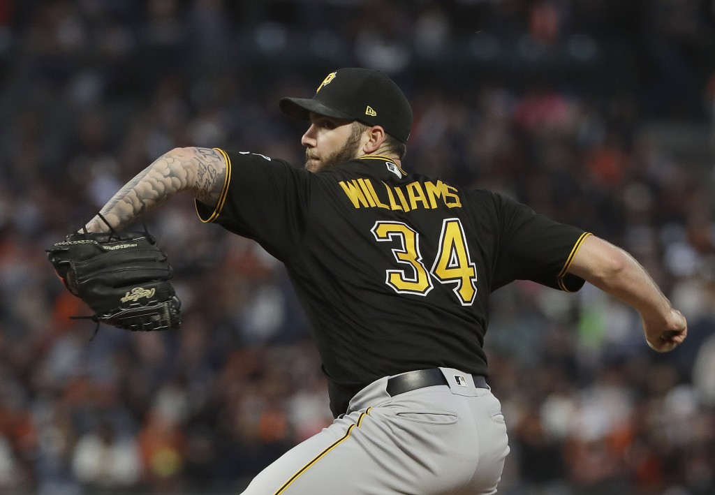 Pittsburgh Pirates pitcher Trevor Williams (34) throws against the San Francisco Giants during the fourth inning of a baseball game in San Francisco,