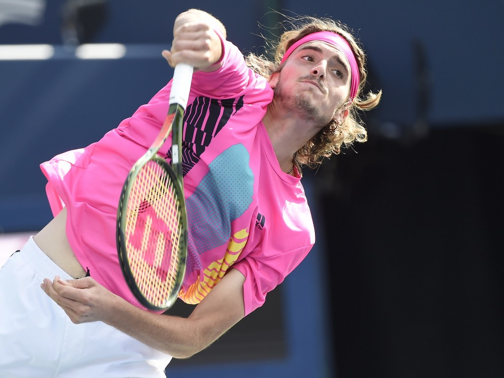 Stefanos Tsitsipas, of Greece, serves to Rafael Nadal, of Spain, during the final of the Rogers Cup men's tennis tournament in Toronto, Sunday, Aug. 1