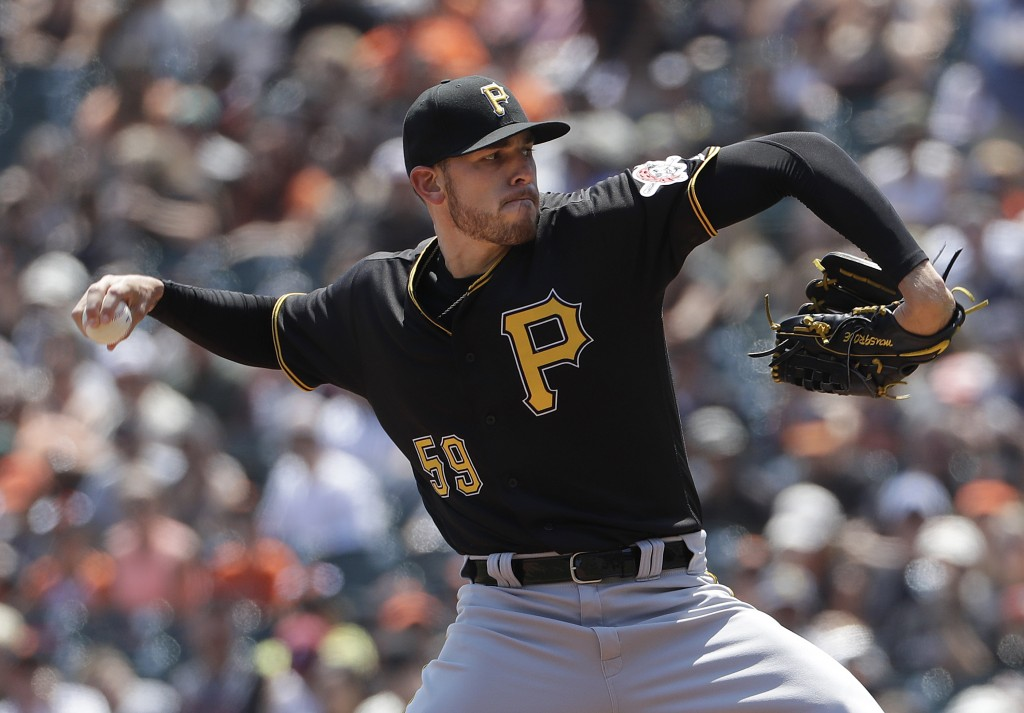 Pittsburgh Pirates pitcher Joe Musgrove (59) throws against the San Francisco Giants during the first inning of a baseball game in San Francisco, Sund...