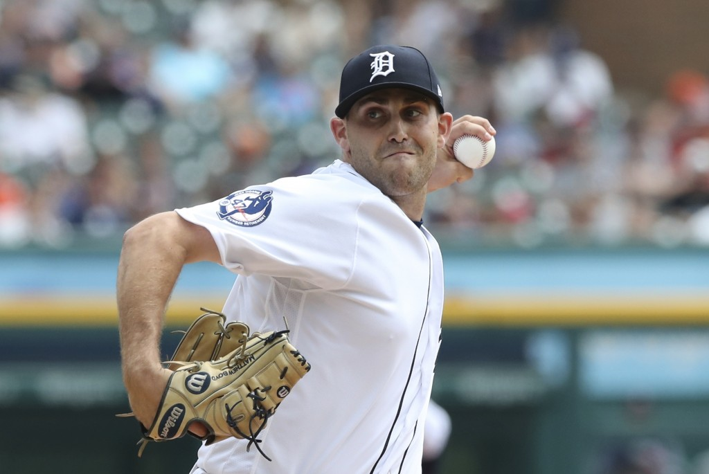 Detroit Tigers starting pitcher Matthew Boyd throws during the first inning of a baseball game against the Minnesota Twins, Sunday, Aug. 12, 2018, in