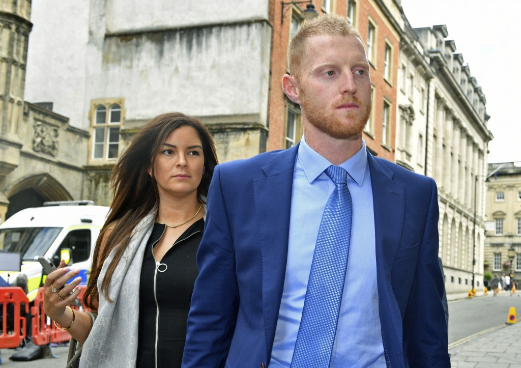 England cricketer Ben Stokes with his wife Clare walk back to Bristol Crown Court, after a lunch break where he is on trial accused of affray, in Bris...