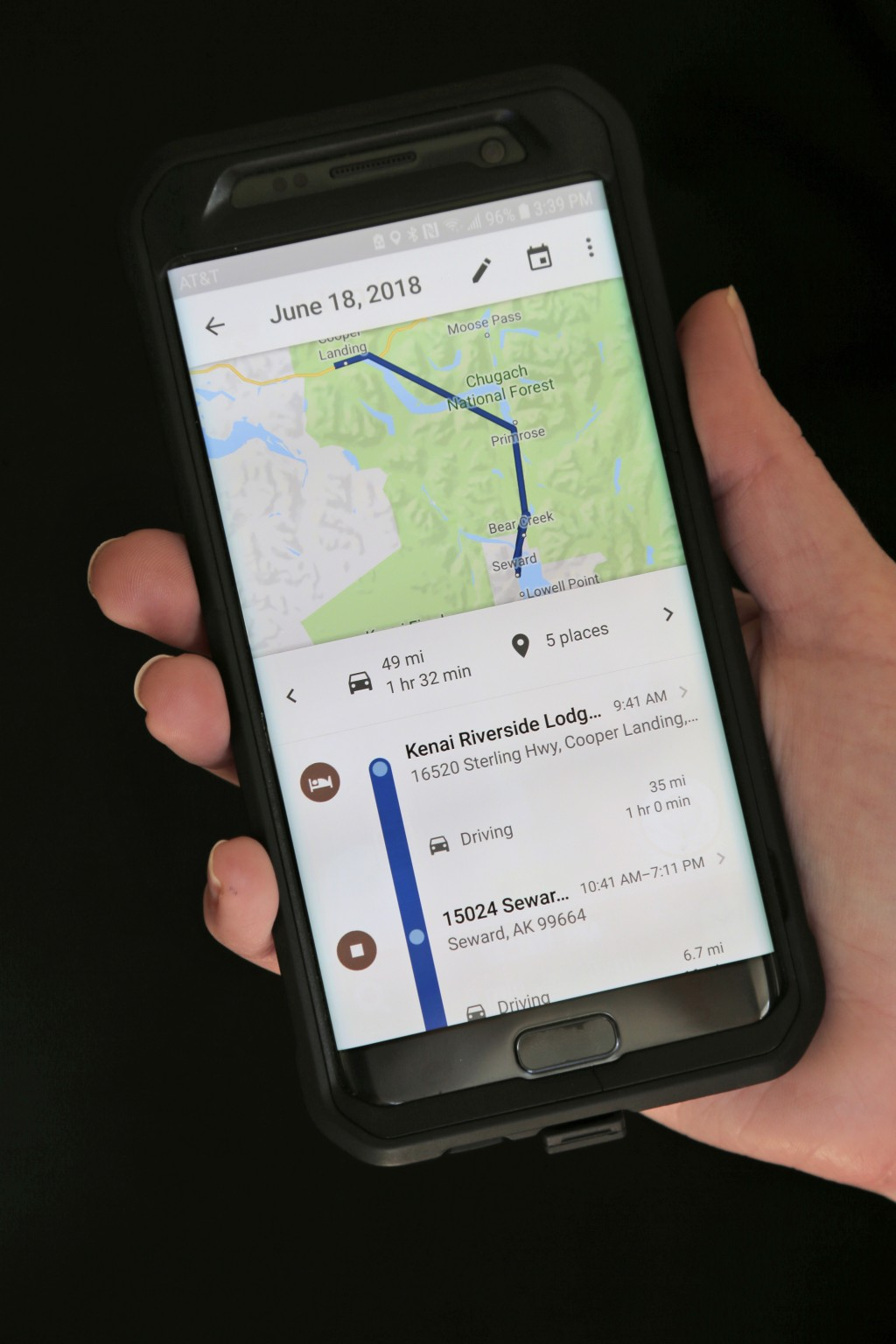 In this Wednesday, Aug. 8, 2018, photo a mobile phone displays a user's travels in New York. Google records your movements even when you explicitly te...