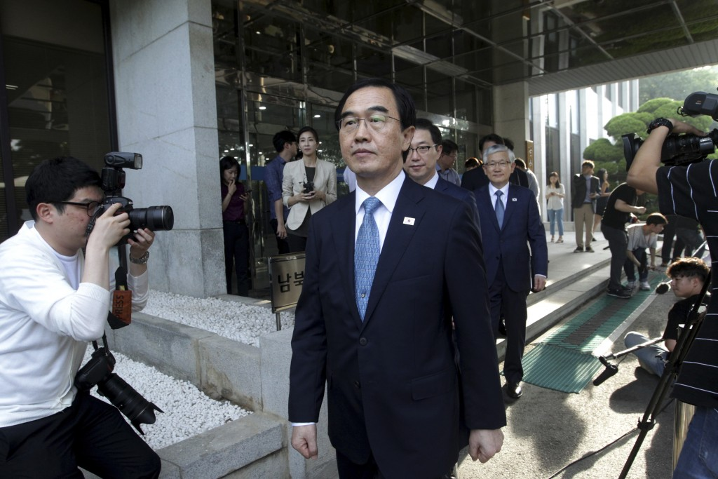 South Korean Unification Minister Cho Myoung-gyon leaves for the border village of Panmunjom to attend a meeting between South and North Korea, at the...