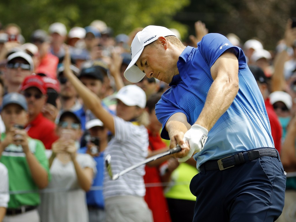 Jordan Spieth tees off on the sixth hole during the final round of the PGA Championship golf tournament at Bellerive Country Club, Sunday, Aug. 12, 20...