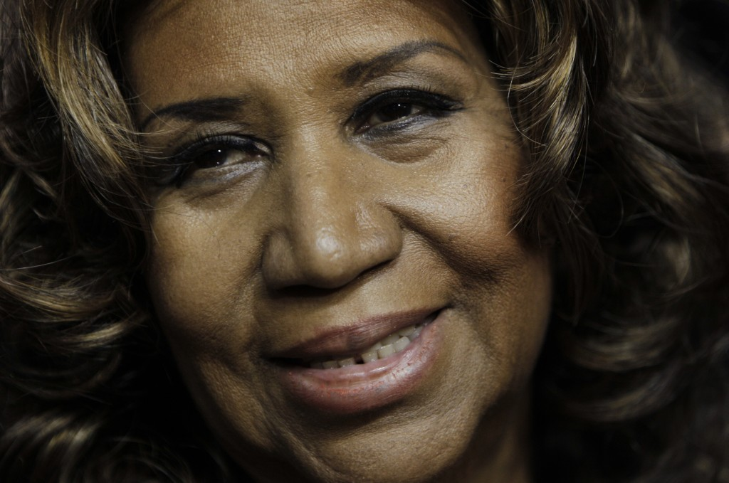 FILE - In this Feb. 11, 2011 file photo, Aretha Franklin smiles after the Detroit Pistons-Miami Heat NBA basketball game in Auburn Hills, Mich. Frankl...