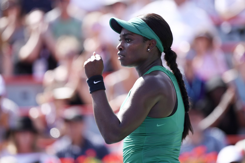 Sloane Stephens of the United States celebrates winning the second set against Simona Halep of Romania during the final of the Rogers Cup tennis tourn