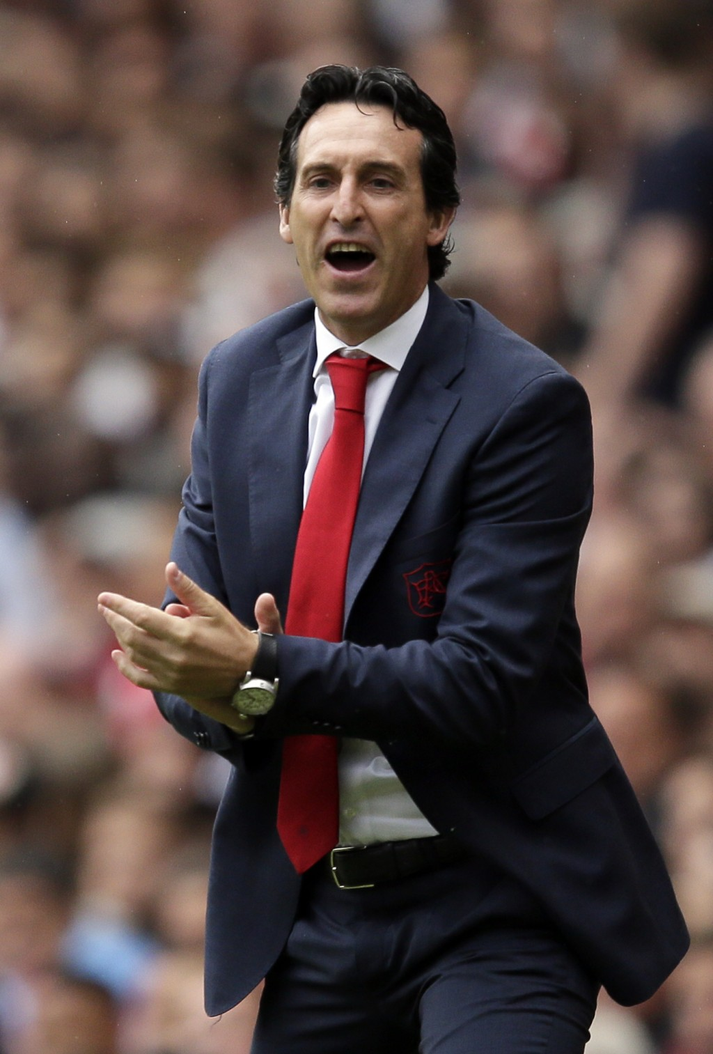 Arsenal manager Unai Emery reacts during the English Premier League soccer match between Arsenal and Manchester City at the Emirates stadium in London...