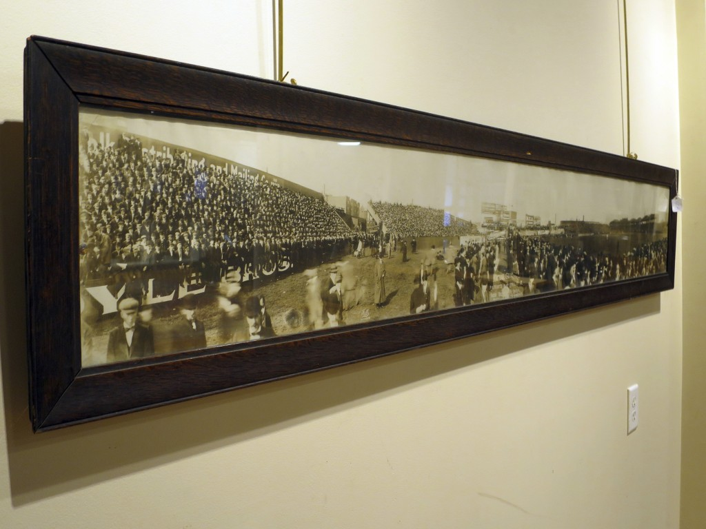 This photo provided by Saco River Auctions in Biddeford, Maine, shows a 6-foot-long panoramic photograph that once belonged to Boston Red Sox third ba...