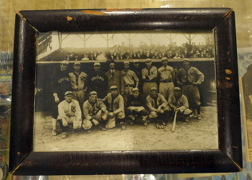 This image provided by Saco River Auctions in Biddeford, Maine, shows a photograph that belonged to baseball great Harry Lord. The 1910 photograph sho...